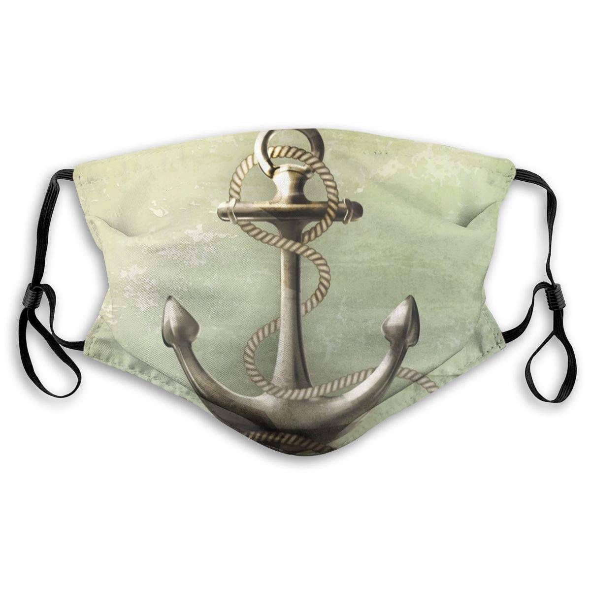 Nautical Navy Anchor Washable Reusable Mask, Anti Dust Half Face Mouth Mask For Kids Teens Men Women With Adjustable Ear Loops