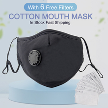Black MASK Sports Dust Cycling Gas-Pm2.5 Mouth Anti-Pollution 2-Valves 6-FILTERS Running