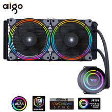Aigo darkflash caso pc água refrigerar líquido aio cooler radiador com 240mm led arco-íris ventilador cpu cooler para lga 115x/2011/am3 +/am4(China)