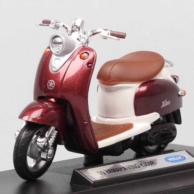 1/18 Mini Scales Welly Classic 99 Yamaha Vino YJ50R Scooter Vehicle Motorcycle Diecast Toy Model Moto Bike For Baby Boy Replicas