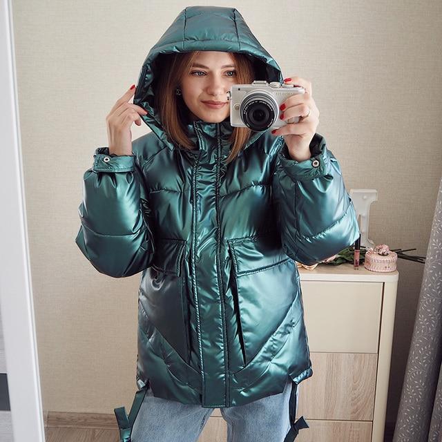 Winter women short parkas jackets casual female thicken warm hooded jackets coat windprood shiny big pocket jackets 1