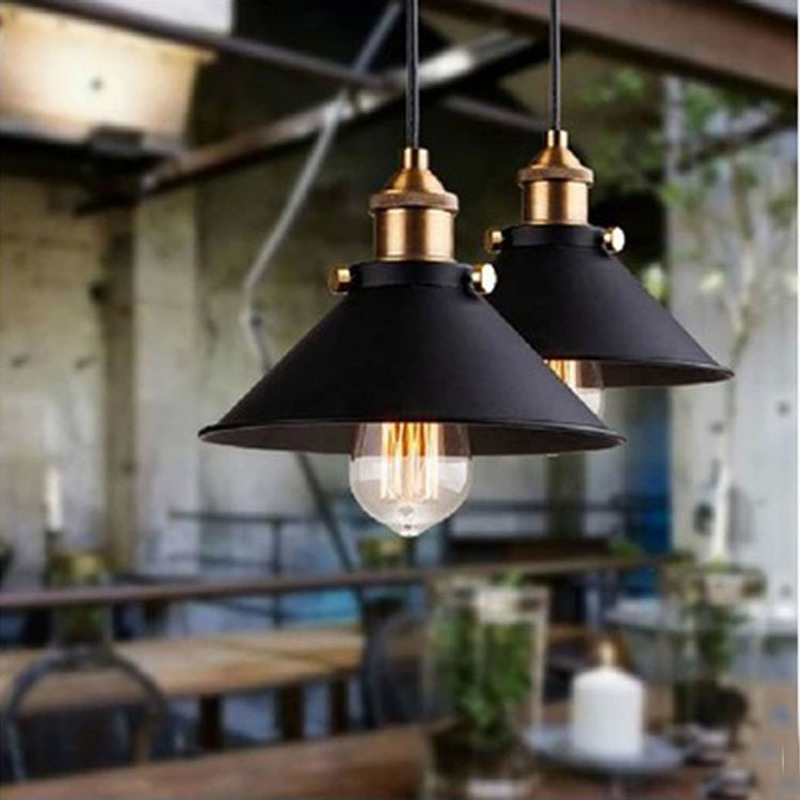 Black Vintage Industrial Pendant Light Nordic Retro Lights Iron Lampshade Loft Edison Lamp Metal Cage Dining Room Countryside|Pendant Lights|Lights & Lighting - title=