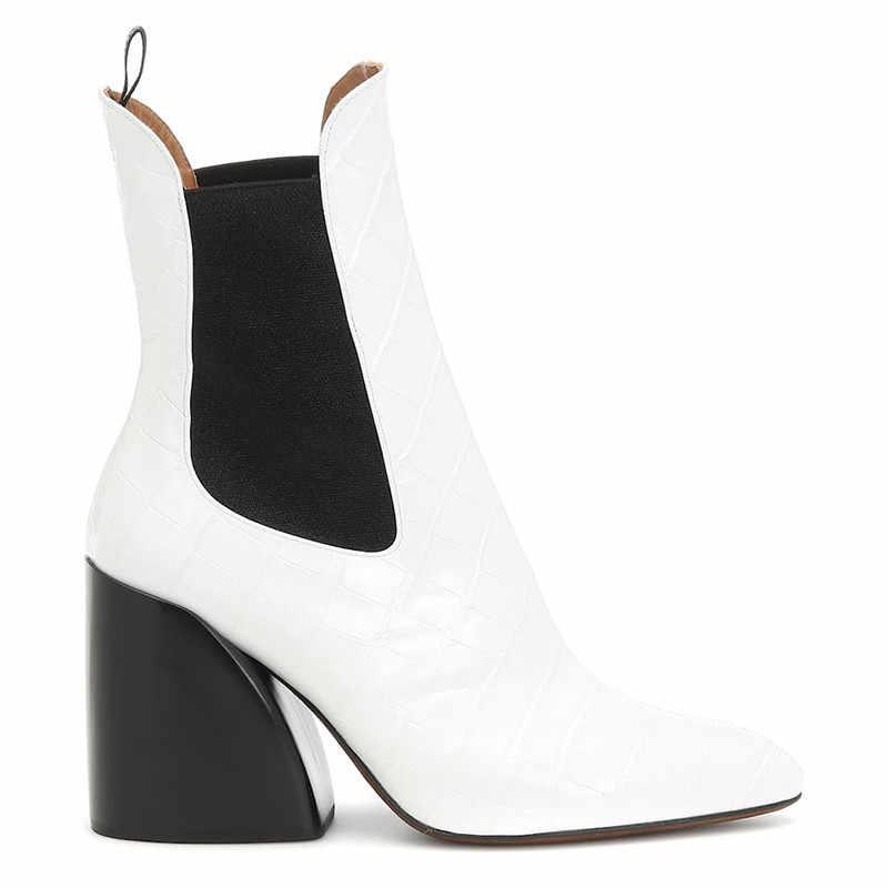 ASUMER 2020 sıcak satış yarım çizmeler kadınlar en kaliteli yüksek topuklu elbise ofis ayakkabı bayanlar sonbahar klasik Chelsea çizmeler kadın