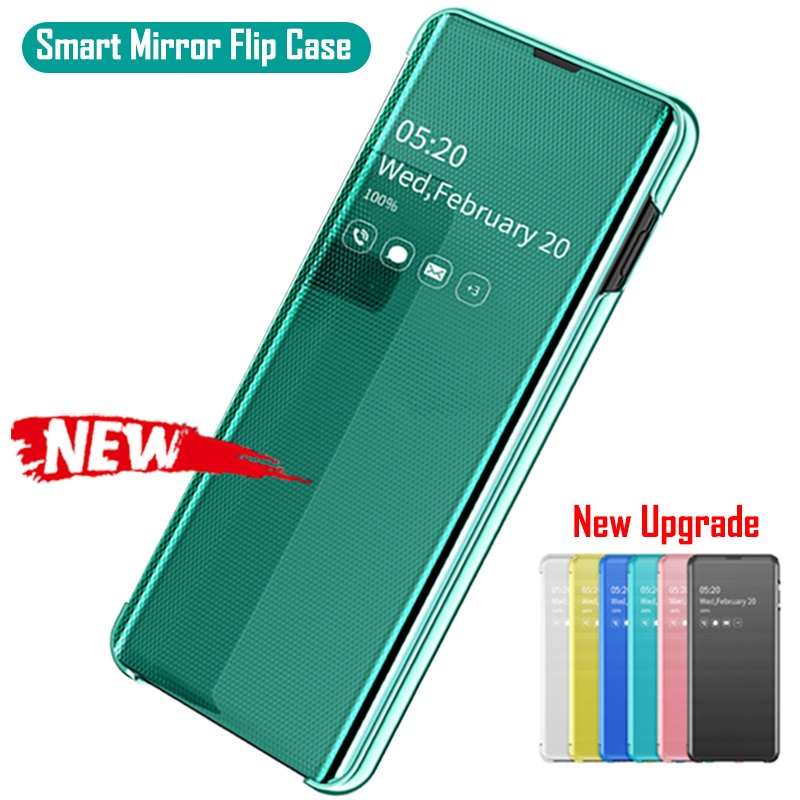 Smart <font><b>Mirror</b></font> Window View <font><b>Flip</b></font> <font><b>Case</b></font> For <font><b>Samsung</b></font> Galaxy <font><b>S10</b></font> S9 S8 Plus Note 9 8 10 A10 A20 A30 A40 A50 A70 A7 2018 Leather Cover image