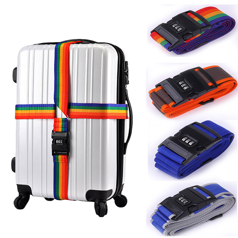 Luggage Strap Cross Strap Packing 410CM Adjustable Travel Accessories Suitcase PP 3 Digits Password Lock Buckle Belt Belt Tag
