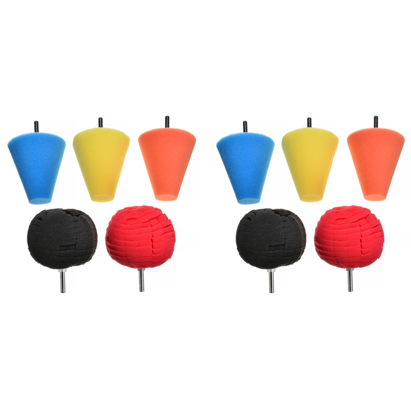 6pcs almofada da esponja e 4pcs esferica conico roda de polimento roda de polimento de carro