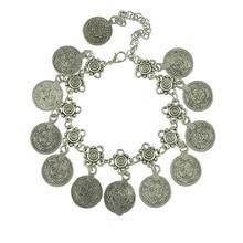 Античная монета, подвеска, цепочка, браслет серебряного цвета, турецкий Аллах, резной круглый бирка, регулируемая цепочка на ногу, браслет на ногу