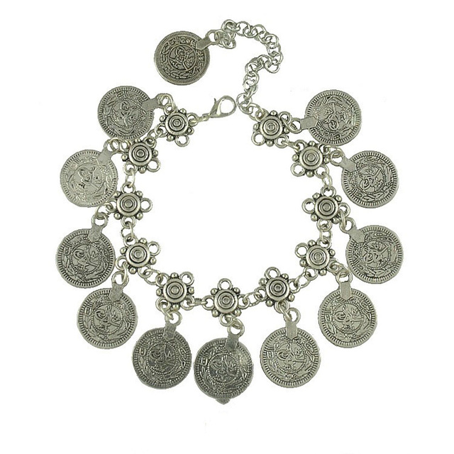 Antique Coin Pendant Chain Bracelet Silver Color Turkish Allah Carved Round Tag Adjustable Foot Chain Anklet