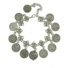 Antyczne monety łańcuszek z wisiorem bransoletka kolor srebrny turecki Allah rzeźbiona okrągła etykieta regulowany łańcuszek na kostkę Anklet