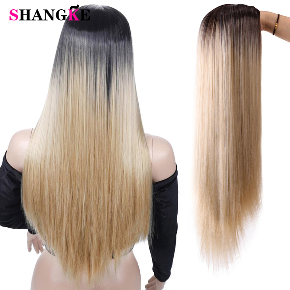 SHANGKE Long Natural Straight Synthetic Cosplay Wig Mixed Brown And Blonde Long Wigs For Women African American