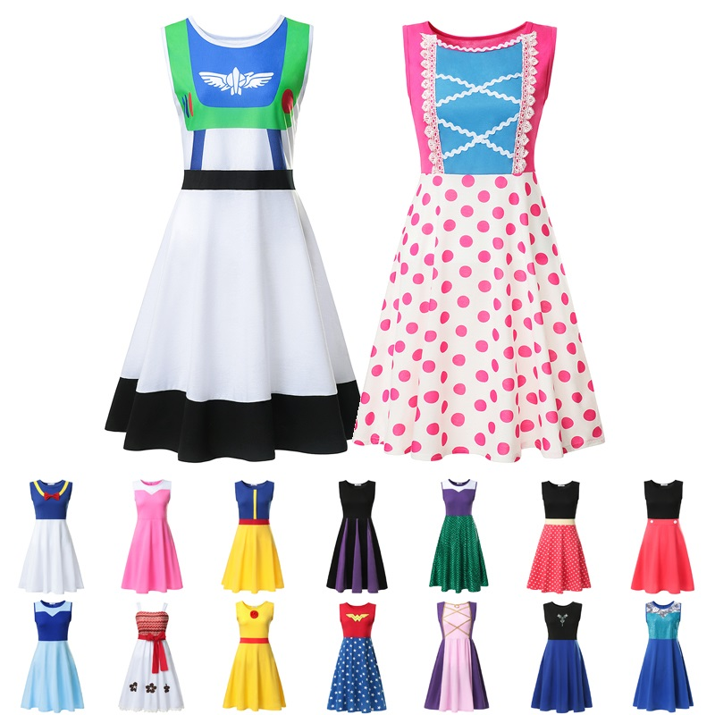 VOGUEON Mum Daughter Clothes Women Casual Tunic Sundress Toy Story Buzz Bo Peep Maleficent Moana Mickey Minnie Halloween Dress