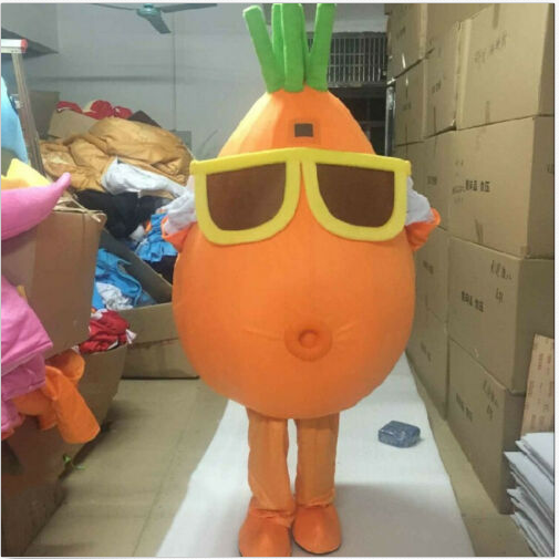 Cenoura mascote traje terno cosplay jogo de