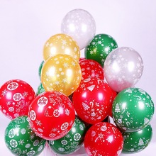 10PCS Christmas printed balloons 12 inches thick snowflake decorated birthday party