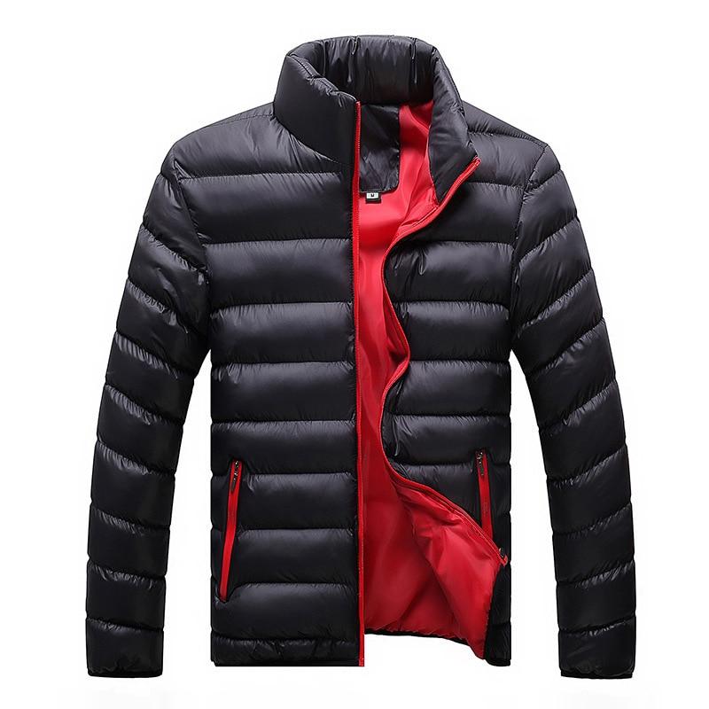 New Arrival Men Parkas Cotton Long Sleeve Autumn And Winter Warm Jacket Solid Streetwear Stripe Black Coat Plus Size Clothes