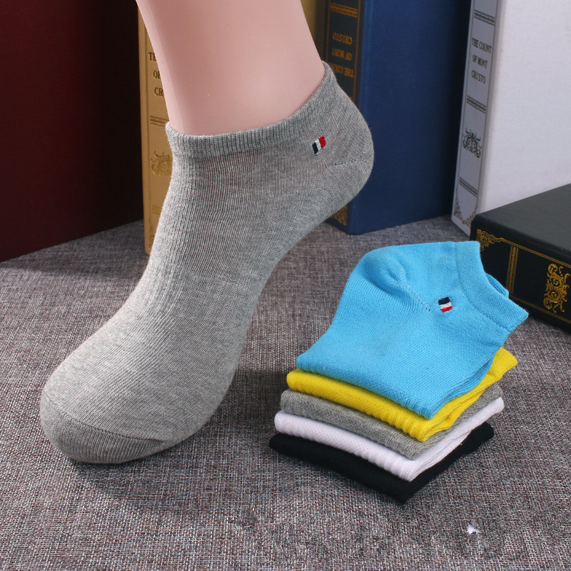 5 Pairs/Lot Spring Summer Breathable Cotton Men Socks Sport Socks Black White Ankle Sock For Male Eur 39-44