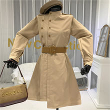 Женское винтажное платье с воротником стойкой однотонное ТРАПЕЦИЕВИДНОЕ
