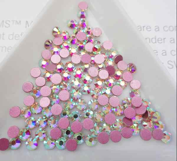 2020 neueste Kristall AB Nail art Strass Rosa Rose Basis Nicht Hot Fix FlatBack Strass Stoff Bekleidungs Nail art Dekorationen