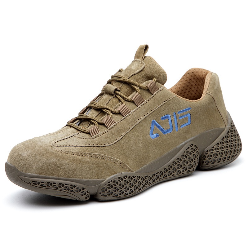 Дышащая кожаная защитная обувь с противоскользящим стальным носком, стальная подошва, устойчивая к прокалыванию, европейская стандартная сварочная Рабочая обувь-in Защитные сапоги from Безопасность и защита