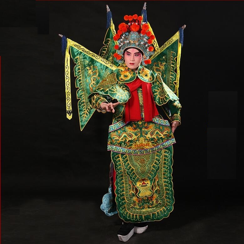 Beijing Opera JingJu Stage Cosplay Face Changing Drama Costume Stage Performance Ancient Costume Military General Wu Sheng Male