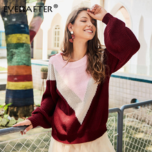 EVERAFTER Elegant knitted women sweater vintage geometrical O-neck Patchwork loose pullover jumper Autumn winter ladies sweater geometrical pattern cape loose sweater with taeesl details