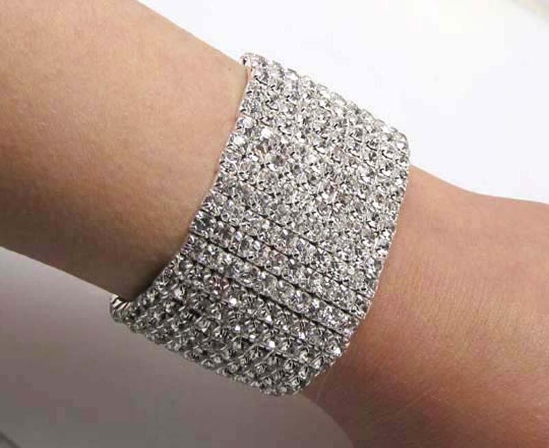 Womens Bracelet Cuff Crystal Glitter Gem Diamante Skull Jewellery Gift New