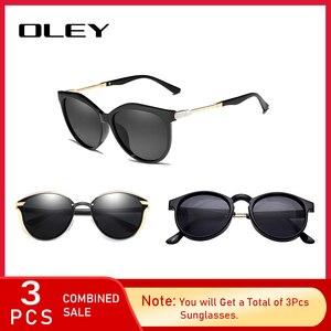 3 шт. комбинированная продажа OLEY брендовые дизайнерские солнцезащитные очки женские зеркальные линзы 100% УФ Защита Oculos De Sol