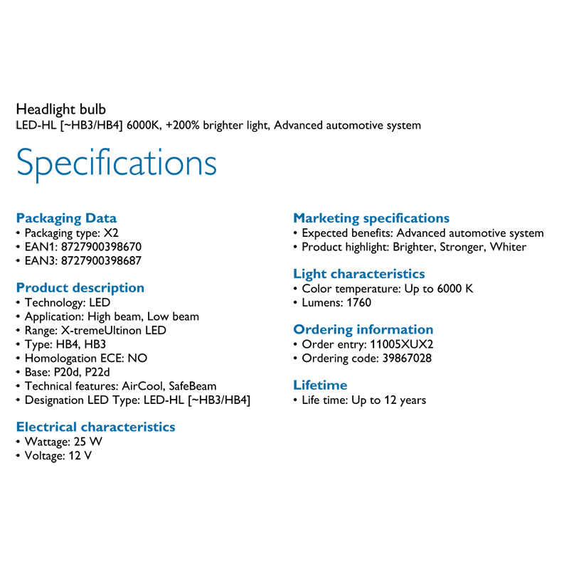 Philips 12 V H4 H7 H11 HB3 HB4 H1R2 9005 9006 9012 6000 K + 200% meer Heldere Koplamp H8 h11 H16 Mistlamp