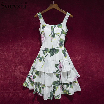 цена на Svoryxiu Runway Summer Sexy Spaghetti Strap Cotton Dress Women's Cascading Ruffle Rose Flower Print White Charming Dresses XXL