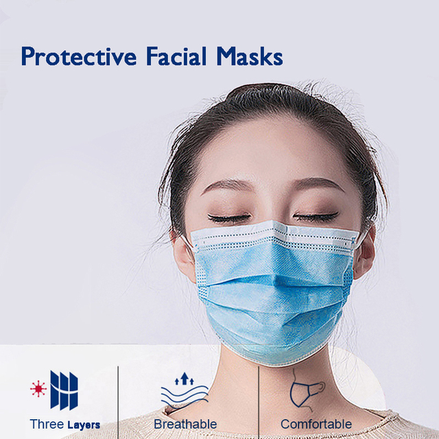 10/50/100 Pcs Face Mouth Protective Mask Disposable Protect 3 Layers Filter Dustproof Earloop Non Woven Mouth Masks 2