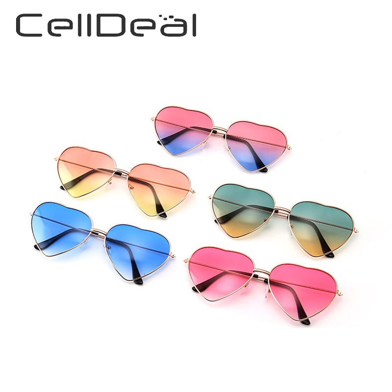 Products Unisex Vintage Heart-shaped Design Metal Frame Glasses Colorful Glasses Women Ocean Color Lens Mirror Sunglasses