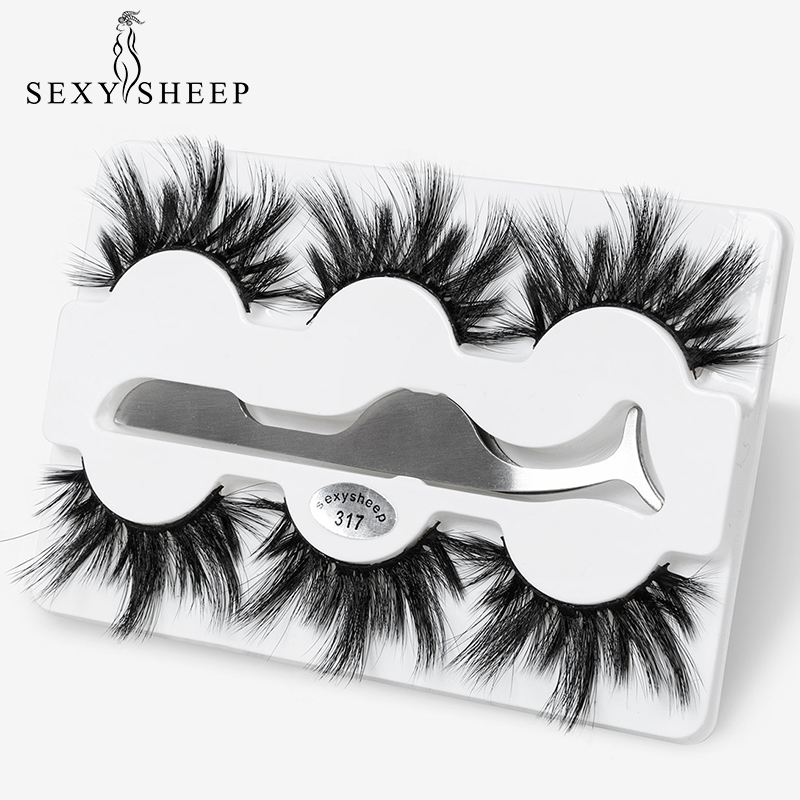 SEXYSHEEP 3pairs 25mm 8D Mink Lashes Natural Long False Eyelashes Curler Volume Fake Lashes Makeup Extension Eyelashes Maquiagem