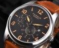 Parnis 44 мм автоматические механические часы для мужчин светящиеся коричневый кожаный ремешок Календарь Мужские часы 2019 подарок для мужчин moda...
