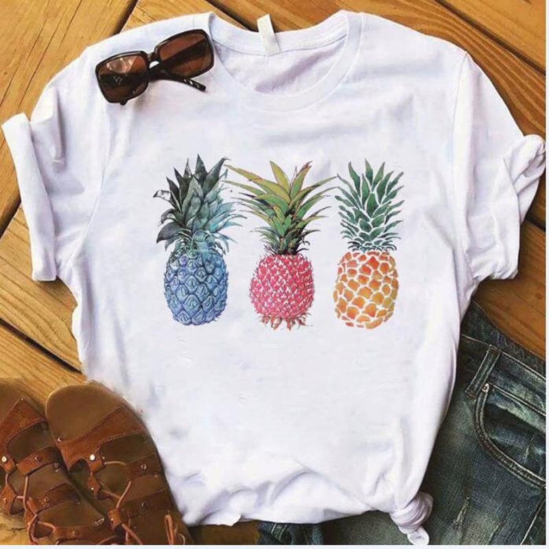 YEMUSEED New Women T-shirt 3 Color Pineapple Printing Tops O-Neck Tee Shirt 4XL FFV223