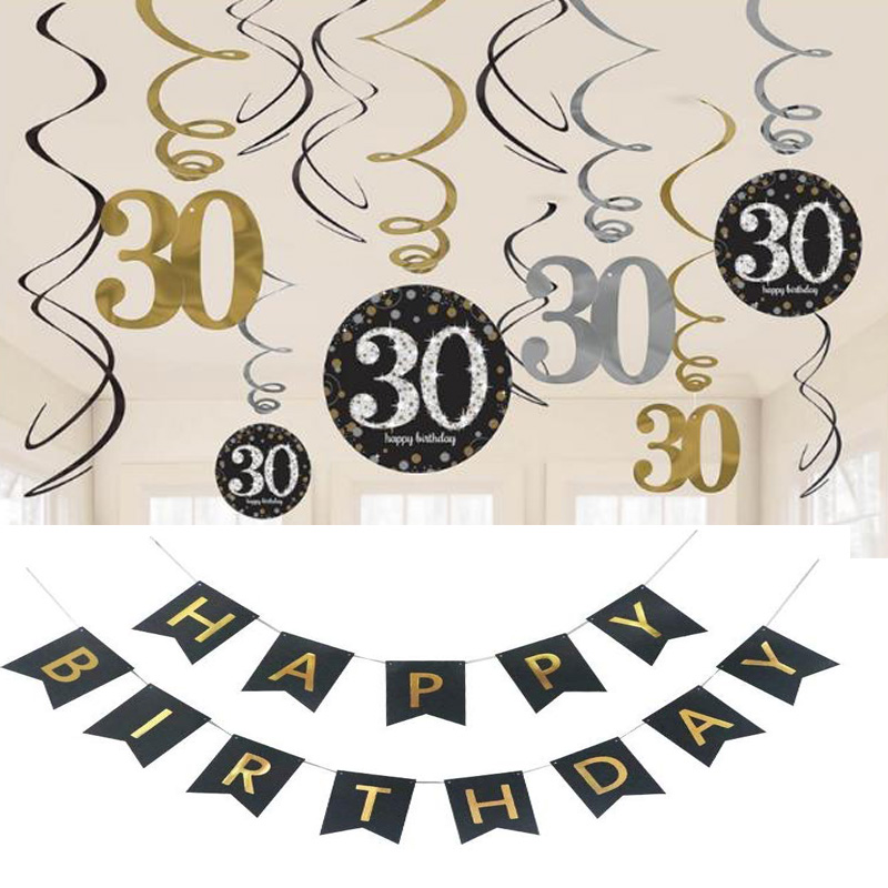 Free ship 2 sets (24pcs) 18 21 30 40 50 60 <font><b>70th</b></font> <font><b>birthday</b></font> party gold black hanging spiral swirls ceiling decoration foil danglers image