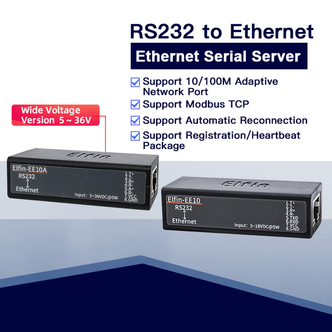 Elfin-EE10A Wide Voltage Serial Port RS232 to Ethernet Serial Device Server TCP/IP Telnet Modbus TCP Protocol