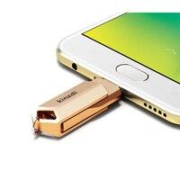 עבור מחשב נייד 2 in1 מתכת OTG USB 2.0 64GB כונן פלאש 32GB זיכרון אחסון Stick U דיסק עבור טלפון OTG Pen Drive עבור מחשב נייד-רוז גולד (3)