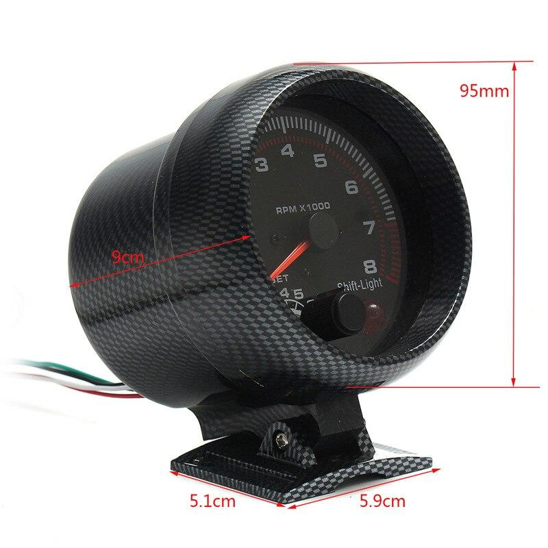 Tachymètre jauge diamètre 95mm/3.75in 12V DC noir fonctionne sur 4 6 8 cylindres moteurs universel s'adapte 12V essence véhicule antichoc - 3