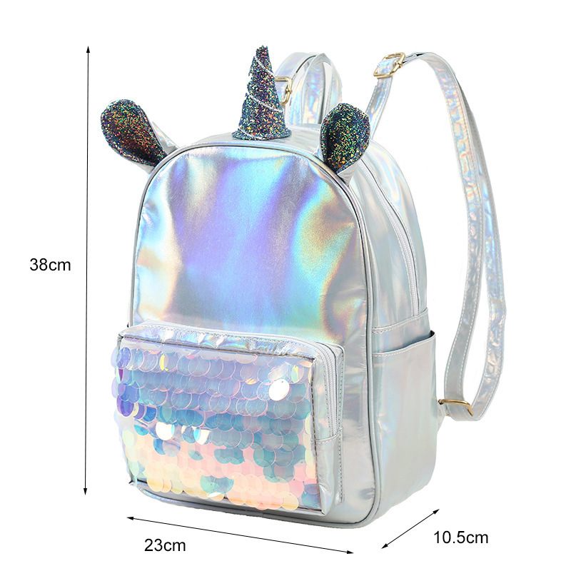 Unicorn Silver Woman Small Backpack Pu Leather Bag For Kids Girls Holographic Fabric Cartoon Small Bags Sequins Children Bags