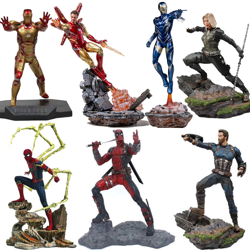 Avengers Captain America Figure Marvel Ironman Spiderman Deadpool Danvers Statue Iron Studios PVC Action Figures Toy Figure