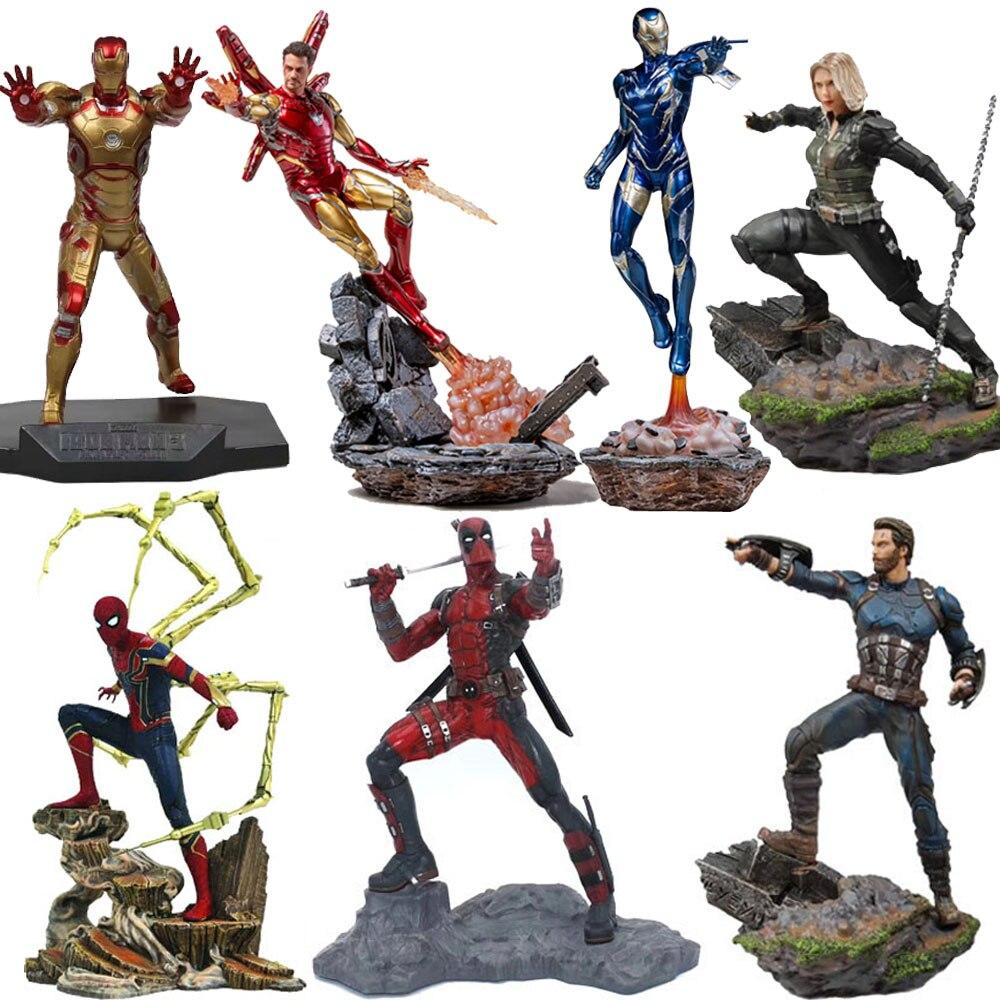 Vingadores capitão américa figura marvel ironman spiderman deadpool danvers estátua de ferro estúdios figuras de ação pvc brinquedo figura