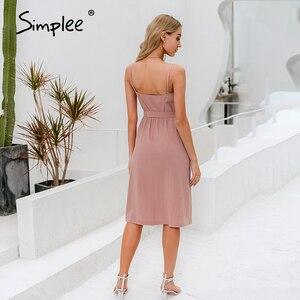 Image 4 - Simplee מקרית ספגטי רצועת קיץ שמלת שיק מוצק כפתורי חגורת נקבה כותנה שמלת חג חוף גבירותיי כיסים מקסי שמלה