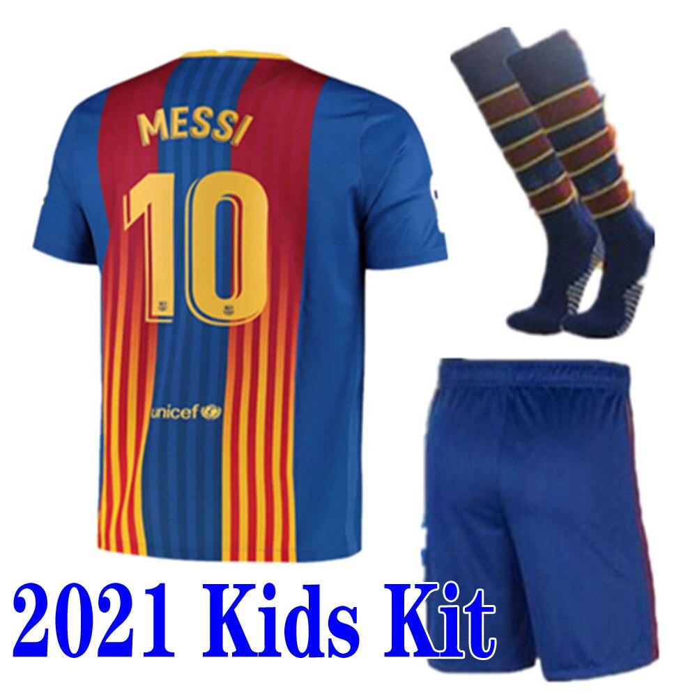 Новые детские комплекты рубашка 21 22 Thai Top Рубашка BarcelonaES GRIEZMANN DE JONG SUAREZ MESSI PIQUE O. DEMBELE 2020 2021 Детский костюм Рубашка