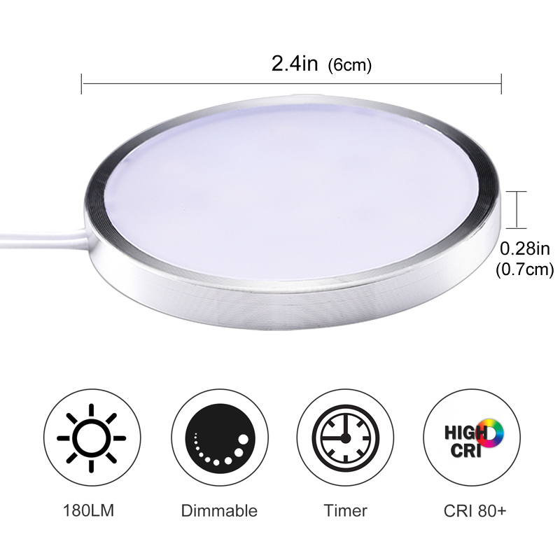 AIBOO LED Under Cabinet Puck Light Under Counter lights with Wireless Timer Remote Dimmable for kitchen Shelf Furniture Lighting 2