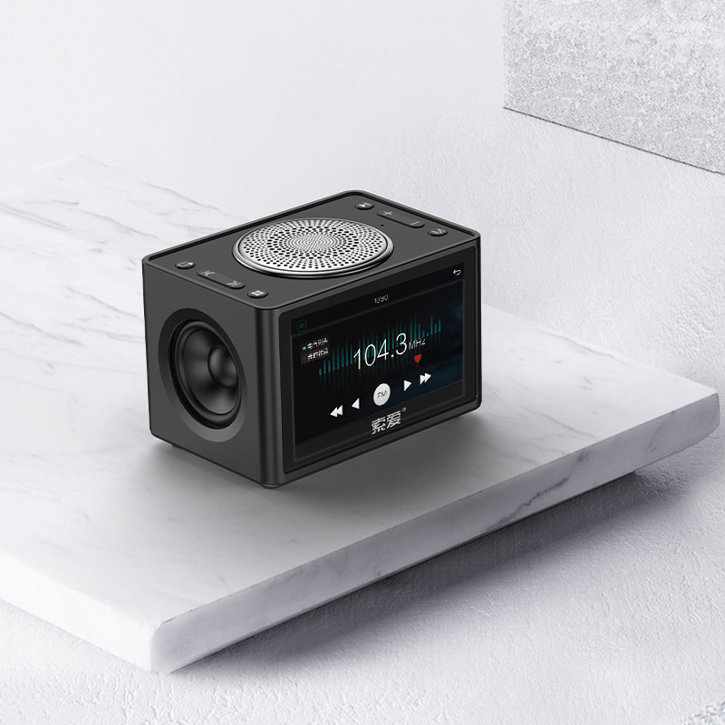 Stereo Bluetooth Speaker 20W LED Screen FM Radio Alarm Clock Home Desktop Wireless HiFi Mic Loudspeaker Bass Subwoofer Soundbox