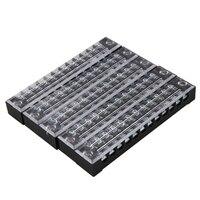 5 pces 600 v 15a 12 posições 12 p linhas duplas cobertas barreira parafuso bloco terminal|Terminais| |  -