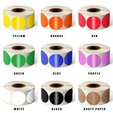 500шт круглый цвет код метка точка печать цветность наклейки 1 дюймов красный, зеленый, белый, желтый, синий, розовый, черный наклейки канцелярские
