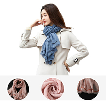 190*90CM Scarf Women Cotton Linen Long Warm Scarves Solid female Shawl Vintage lady woman skinny sring autumn winter gift