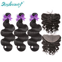 "Rosa beauty #1B 8"" 40 Brazilian Human Hair Weave Body Wave 3 4 Bundles With Lace Frontal Closure Remy Hair 28 30 32 34 40 Inch"