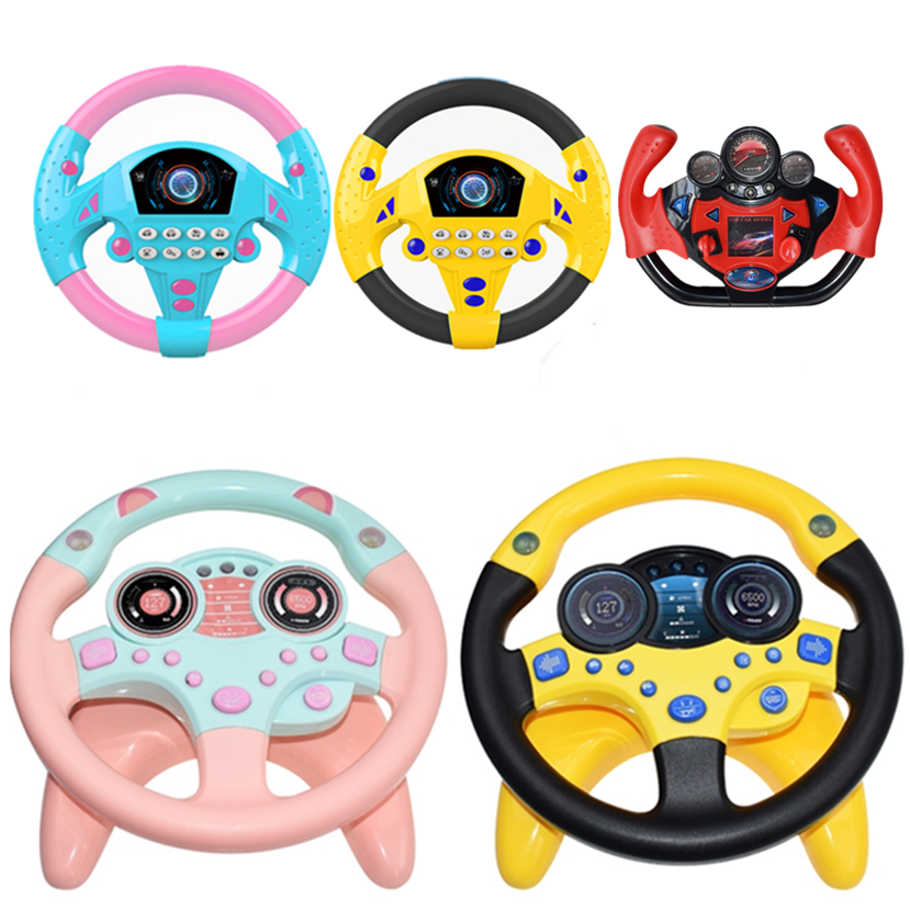 Eletric Simulation Steering Wheel Toy With Light Sound Baby Kids Musical Educational Copilot Stroller Steering Wheel  Vocal Toys