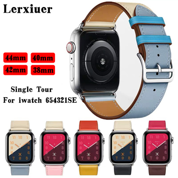 Leather strap for Apple watch band 44mm 40mm iWatch band 38mm 42 mm Single tour watchband bracelet Apple watch series 5 4 3 6 se недорого